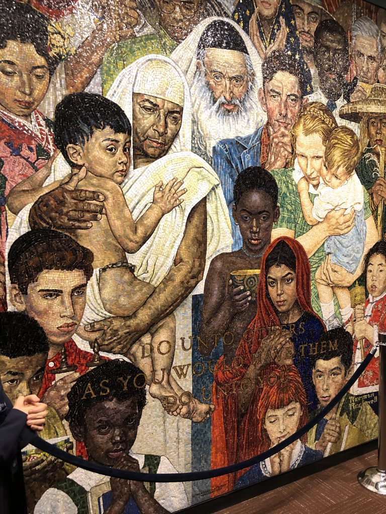 The Norman Rockwell Golden Rule mural at the United Nations in New York.